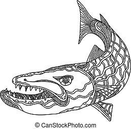 barracuda-fish-doodle - Doodle art illustration of...