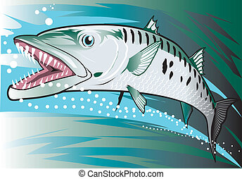 Illustration of a dangerous and aggressive barracuda