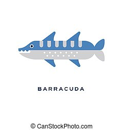 Barracuda, sea carnivorous fish geometric flat style design vector Illustration