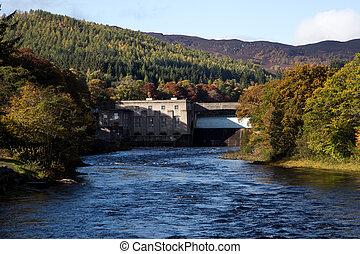 barrage électrique, ecosse, perthshire, pitlochry, hydro