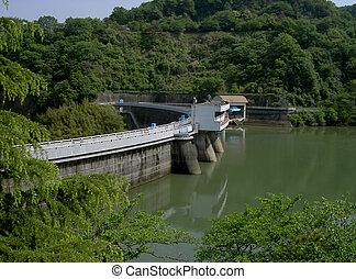 a barrage on uji river near kyoto city japan