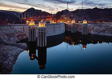 barrage, aspirateur, lac, nuit, hydromel