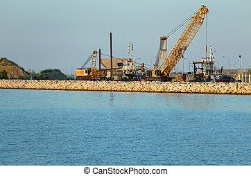 barrage, chantier naval, grue construction, vigoureux