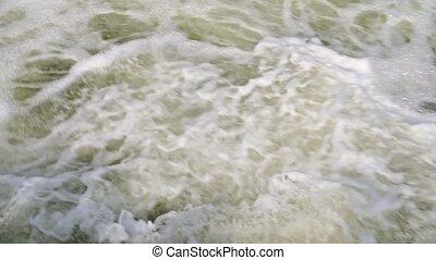 barrage, décharge, ruisseau, eau bouillante