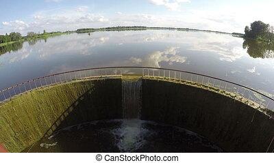 barrage eau, éclaboussure, lac, étang