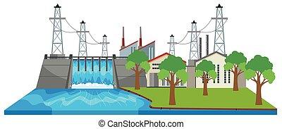 barrage, et, électricité, bâtiments, par, les, rivière