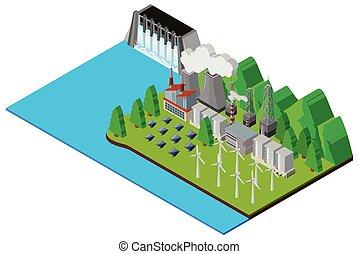 barrage, et, électronique, machines, par, les, rivière