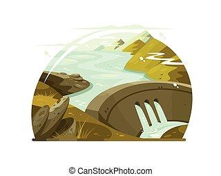 barrage, rivière, énorme
