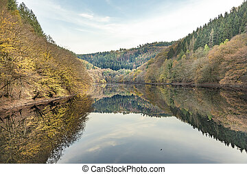 barrage small Drohn in Leiwen. Germany with reflection of Hunsrueck forest
