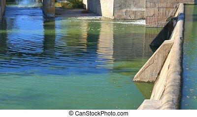 barrage, waterfall., autumn., river., petit, paysage