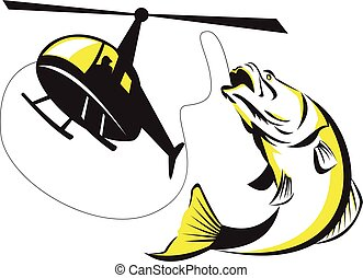 Illustration of helicopter heli fishing reeling a jumping barramundi or Asian sea bass (Lates calcarifer) on isolated background done in retro style.