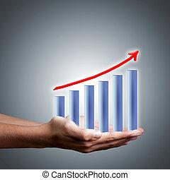 barras, éxito financiero, resultados, ganancias, manos