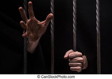 barras, alcançar, sentando, cadeia, atrás de, closeup, fundo...