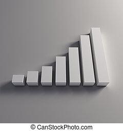 barras, blanco, finanzas, 3d
