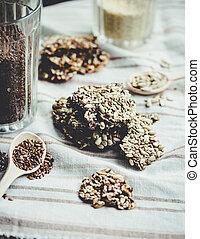 barras, bocado, semillas de girasol, sésamo, sano, muy rubio, semillas, galletas, especias