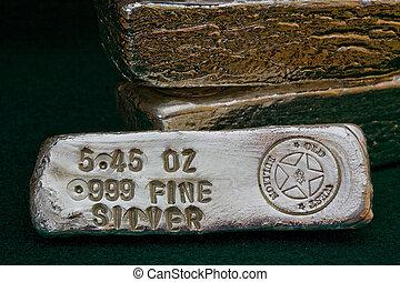 barras, bullion, estampado, prata