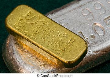 barras, bullion, prata, ouro