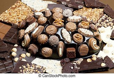 barras chocolate, com, chocolate, caixa
