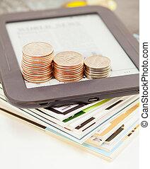 barras, coins, libro electrónico, lector