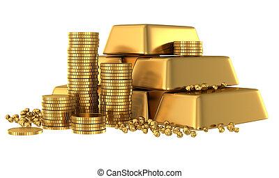 barras, coins, oro, 3d