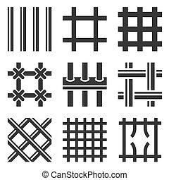 barras de la prisión, iconos, conjunto, blanco, fondo., vector