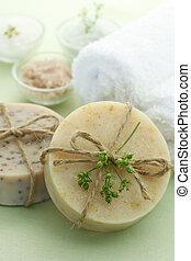 barras del jabón, sal, remolque, baño