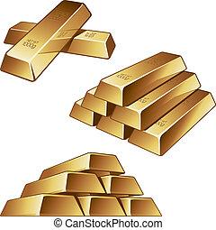 barras del oro, fondo blanco