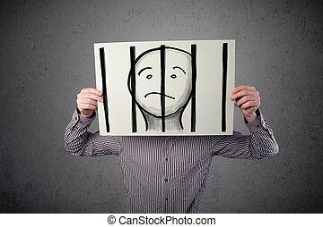 barras, el suyo, cabeza, él, preso, atrás, papel, cárcel, tenencia, frente, hombre de negocios