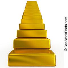 barras, escadas, ouro