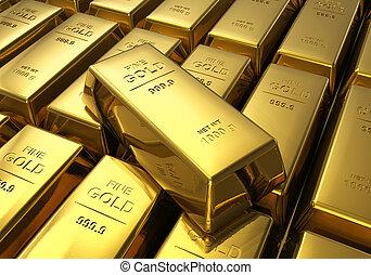 barras, filas, oro