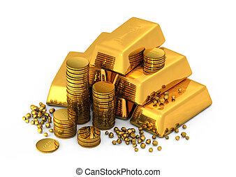barras, moedas, ouro, 3d