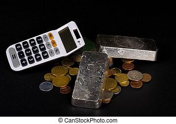 barras, moedas, prata