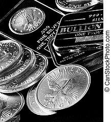 barras, moedas, representando, riqueza, prata