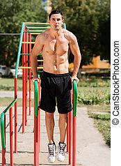 barras, park., retrato, bonito, paralelo, exercício, homem