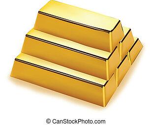 barras, pilha, ouro