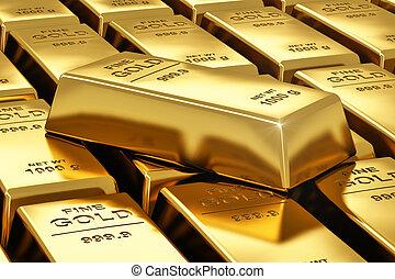 barras, pilhas, ouro
