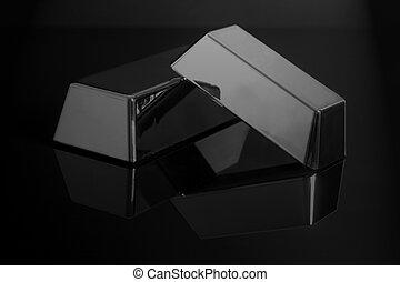 barras pretas, bullion, prata, fundo