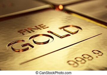 barras, primer plano, oro