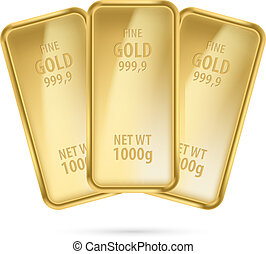 barras., três, ouro
