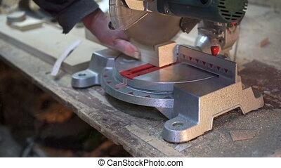 barre, électrique, bois, charpentier, découpage, scie