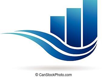 barre, affari, onde, sagoma, professionale, logotipo