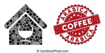 barre, alcool, collage, café, arabica, cachet, détresse