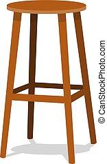 barre, arrière-plan., bois, objet, isolé, tabourets, réaliste, unique, vecteur, conception, illustration, sièges, ocre