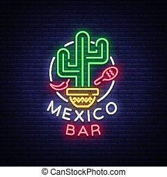 barre, bannière, signe, neon-style, néon, clair, illustration, nourriture., annonce, incandescent, vecteur, conception, vie nocturne, gabarit, billboard., mexicain, logo.