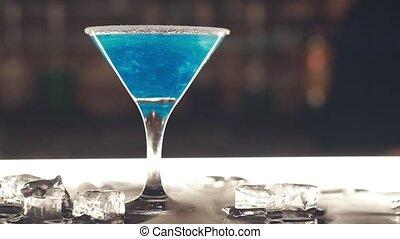 barre, bleu, cocktail