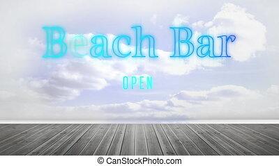 barre, bleu, néon, fond, plage, nuageux, signe, ciel