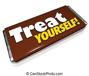 barre, bonbon, vous-même, traiter, indulgence, chocolat