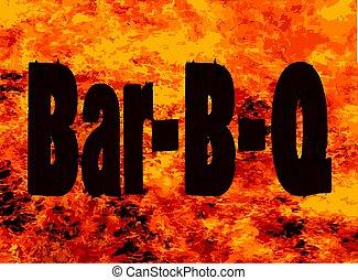 barre, bq, flamme, marque