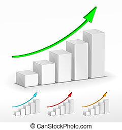 barre, business, concept., graph., vecteur, croissance, 3d