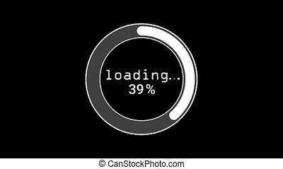 barre, cent, loading., 1-100, progrès, courant, arrière-plan., cercle, téléchargement, aniamated, barre, noir, statut